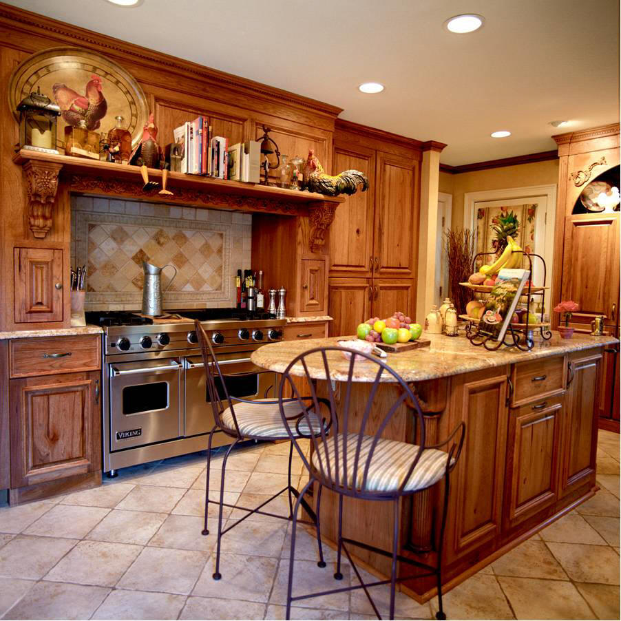 This style creates a beautiful farm picturesque aspect of the kitchen.